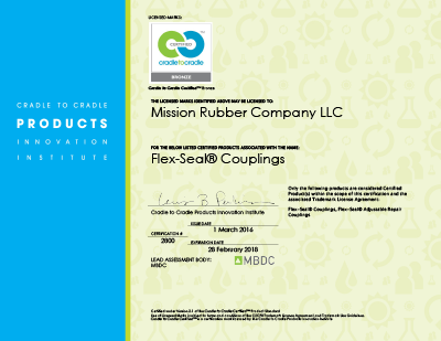 Mission Rubber C2C Certificate for FLEX-SEAL® Couplings