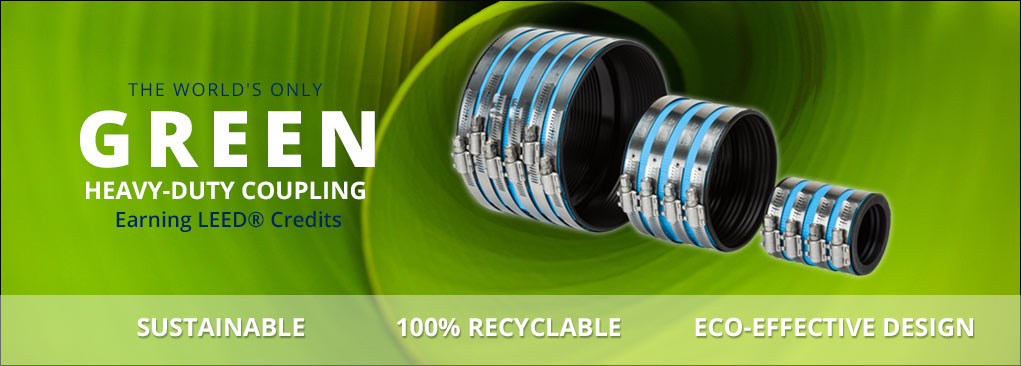 Mission Rubber HEAVYWEIGHT Coupling: The world's only GREEN, HEAVY DUTY COUPLING earning LEED® CREDITS